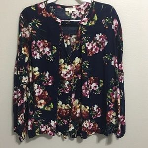 Umgee Floral Print long Sleeve Blouse